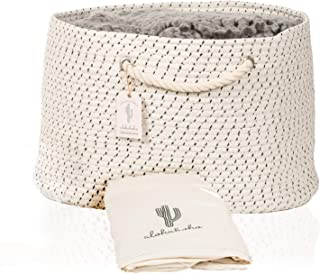 XXL Extra Large Cotton Rope Basket Includes Laundry Bag | Wide Storage Organizer for Living Room, Blankets, Sofa Throws, Nursery, Baby Kids Toys, Playroom: 20