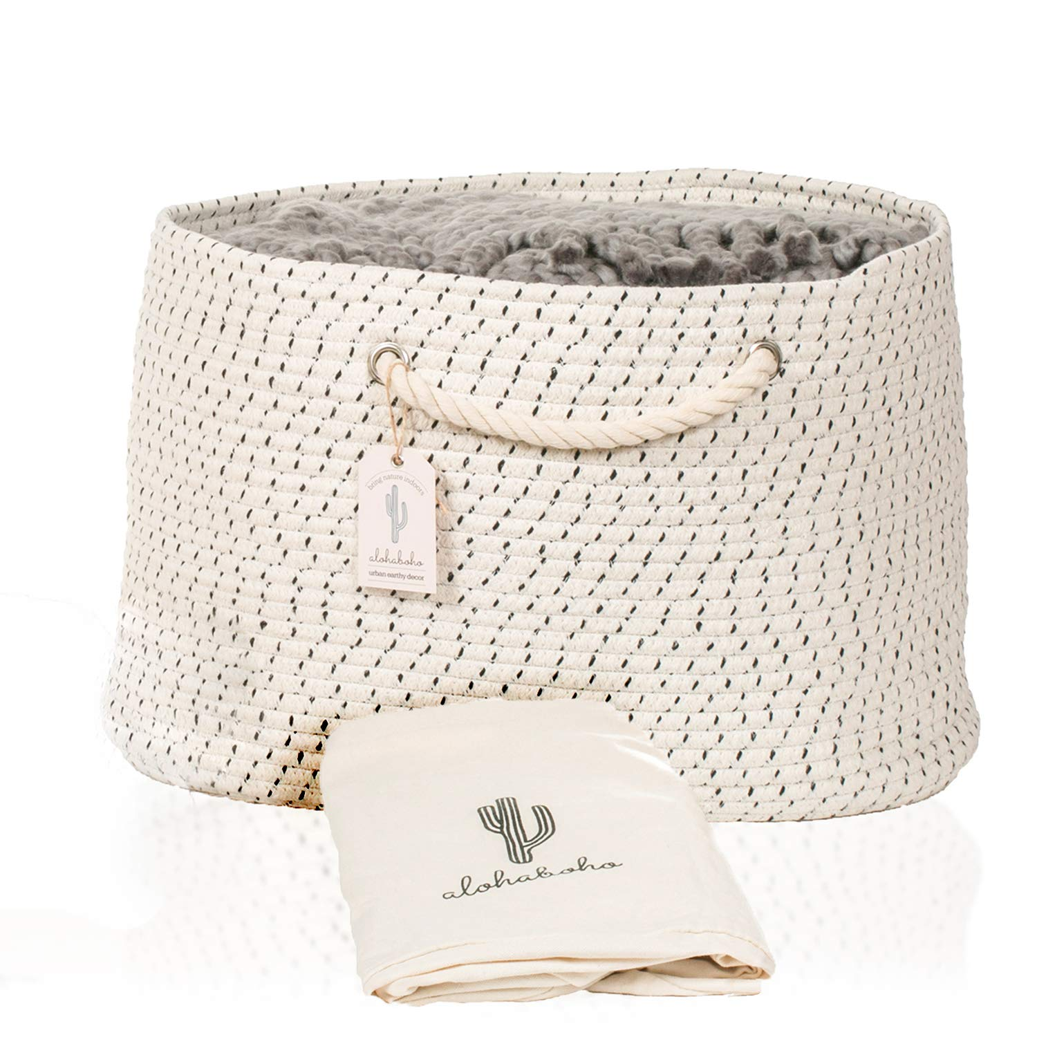 XXL Extra Large Cotton Rope Basket Wide Indefinitely Year-end gift Includes S Bag Laundry