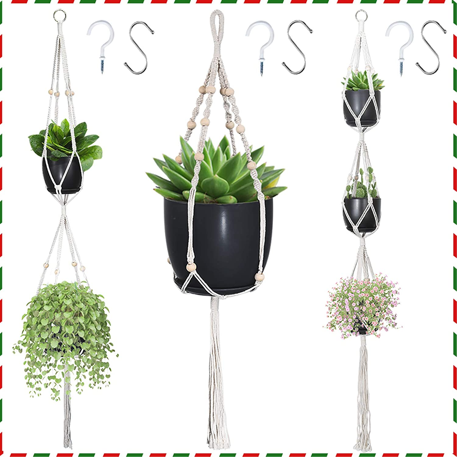 Macrame Plant Hangers Hanging Max 81% OFF Planters Set 3 H Daily bargain sale 6 with Hooks of