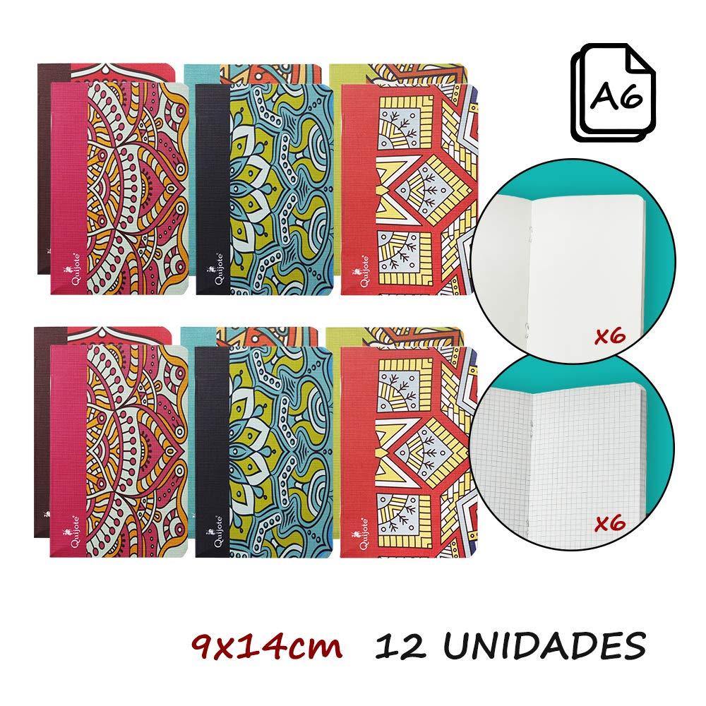 Quijote Paper World Pack 12 Libretas, Cuadernos, Interior Cuadros 4x4mm, Interior Liso, Diseño Mandalas, 9x14cm, 40 Hojas para Uso Escolar, Oficina, Trabajo, etc.: Amazon.es: Oficina y papelería