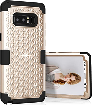 Galaxy Note 8 Case, Asstar 3 in 1 Rhinestone Bling Studded Hard PC Soft Silicon Rubber Hybrid Shock Resistant Defender Full Body Protective Case Cover for Samsung Galaxy Note 8 2017 (Gold+Black)