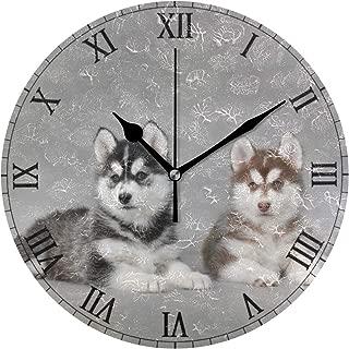MIKAシベリアンハスキー 子犬 掛け時計 スイープ(連続秒針)静音 デザイン 北欧インテリア おしゃれ 部屋装飾 インテリア