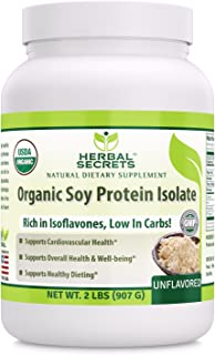 Herbal Secrets Organic Soy Protein Isolate - 2lbs (Non-GMO) Unflavoured- Supports Cardiovascular Health, Overall Health and Well Being* - Support Healthy Dieting*