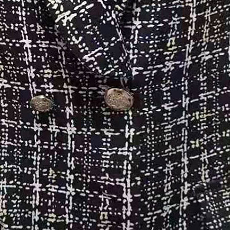 Fashion Jacket Coat Women's Casual Long Sleeve Ladies Buttons Plaid Blazers Tops Coat