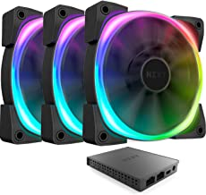Nzxt AER RGB 2 - 3-Pack of 120mm RGB PWM Fans with HUE 2 Lighting Controller - Advanced Lighting Customizations - LED RGB PWM Fans - Winglet Tips - Fluid Dynamic Bearing - PC Case Fan