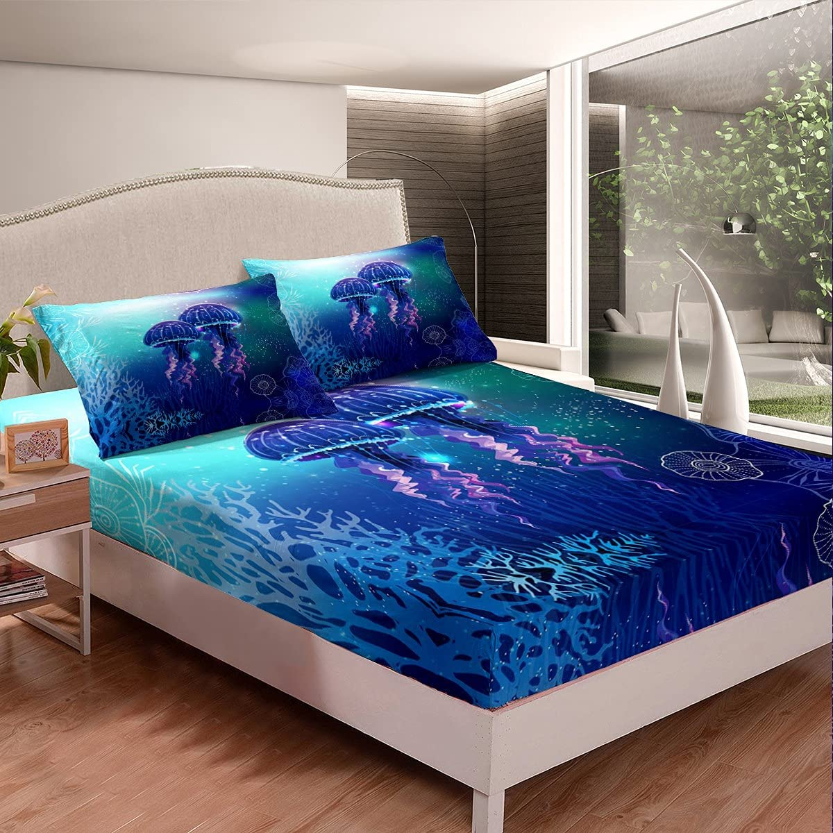 Jellyfish Surprise price Fitted Sheet Blue Purple Cheap mail order specialty store Pattern Life Set Marine