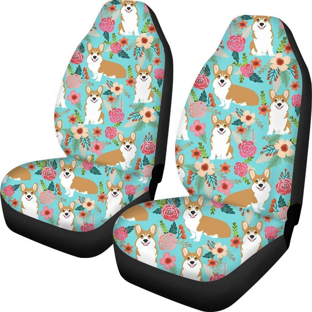Dremagia Car Seat Mat Funny Corgi Puppy Floral Auto Front Seat Protector Covers Comfortable Warm Seat Cover