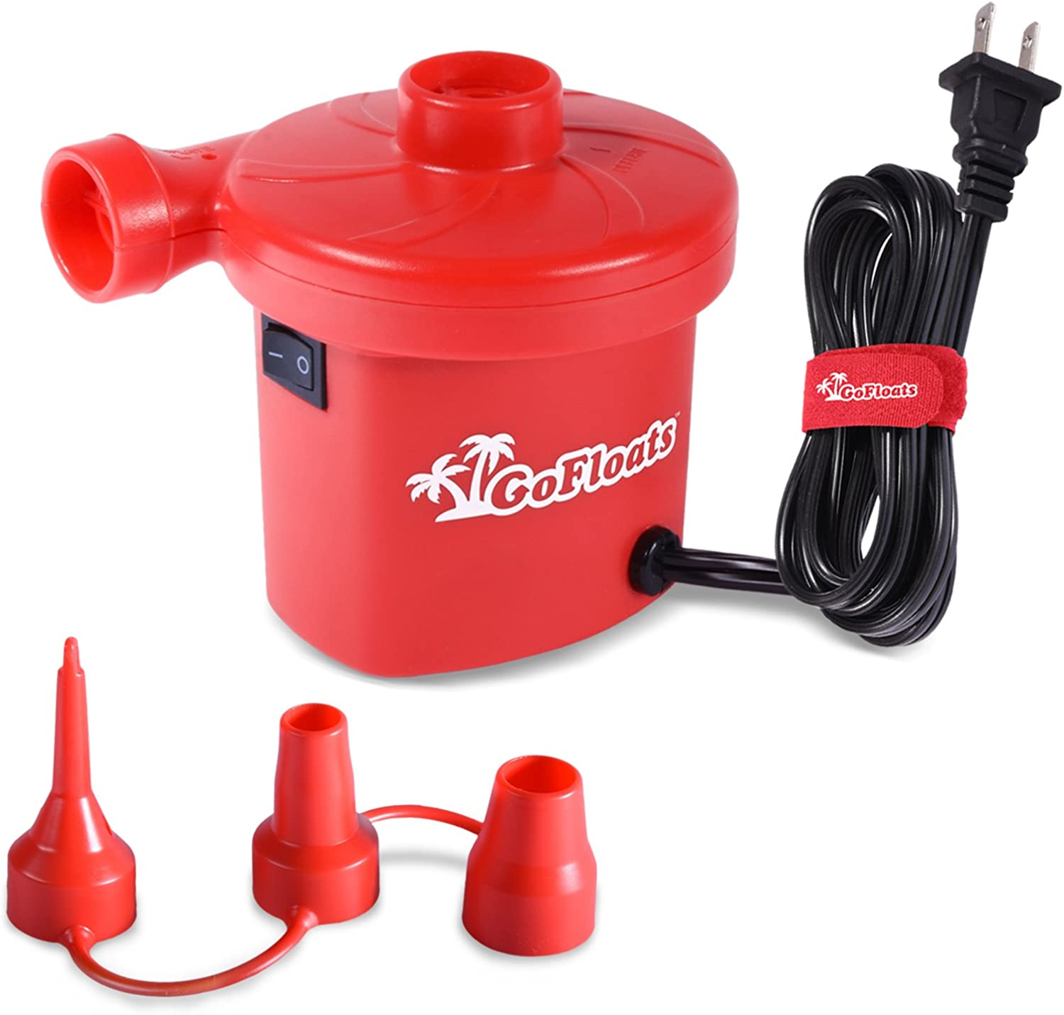 GoFloats Rapid Inflation Electric Air Pump (AC 110 120V) with Tote Bag & Raft Repair Kit