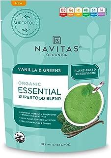 Navitas Organics Essential Superfood Protein Blend, Vanilla & Greens, 8.4oz. Bag — Organic, Non-GMO, Gluten-Free, Plant-Based Protein