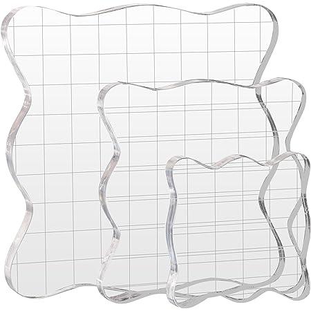 Kesote Stamp Bloquer, 3 Pièces Blocs de Tampons en Acrylique avec des lignes de grille pour le scrapbooking loisirs créatifs