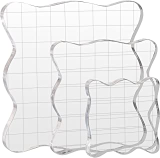 Kesoto 3 PCS Acrylic Stamp Blocks with Grid Lines, Essential Stamping Tools for Scrapbooking Crafts Making