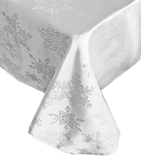 Newbridge Metallic Snowflake Christmas No-Iron Soil Resistant Fabric Holiday Tablecloths - 60 X 120 Oblong, White/Silver