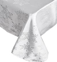 Newbridge Metallic Snowflake Christmas No-Iron Soil Resistant Fabric Holiday Tablecloths - 60 X 84 Oblong, White/Silver