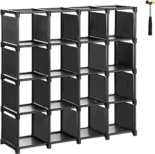 SONGMICS 16-Cube Shoe Rack, DIY Modular Storage Shelves, Bookshelf Toy Rack, Display Cabinet and Closet Organiser Unit, Includes Rubber Mallet, Black ULSN44BK