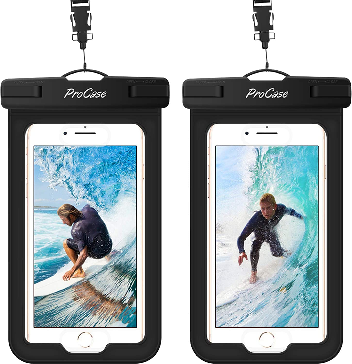 (2 Pack) ProCase Waterproof Phone Pouch Case with Touch ID up to 7