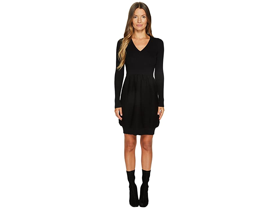 Boutique Moschino Knit Long Sleeve Dress (Black) Women