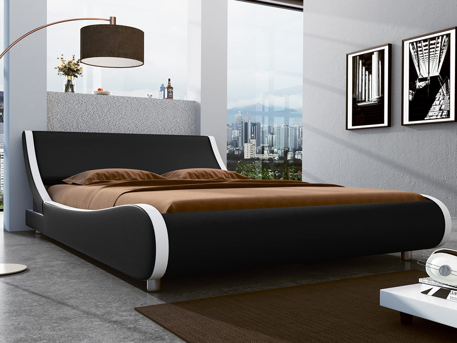 SHA CERLIN Queen Size Platform Bed, Faux Leather Low Profile Sleigh Bed Frame with Adjustable Headboard, Wood Slat Support, Black & White
