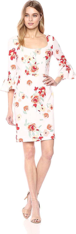women Morgan Womens Printed Crepe Bell Sleeve Dress Dress