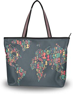 Ahomy - Borsa a tracolla da donna, con manico superiore, motivo: mappa del mondo