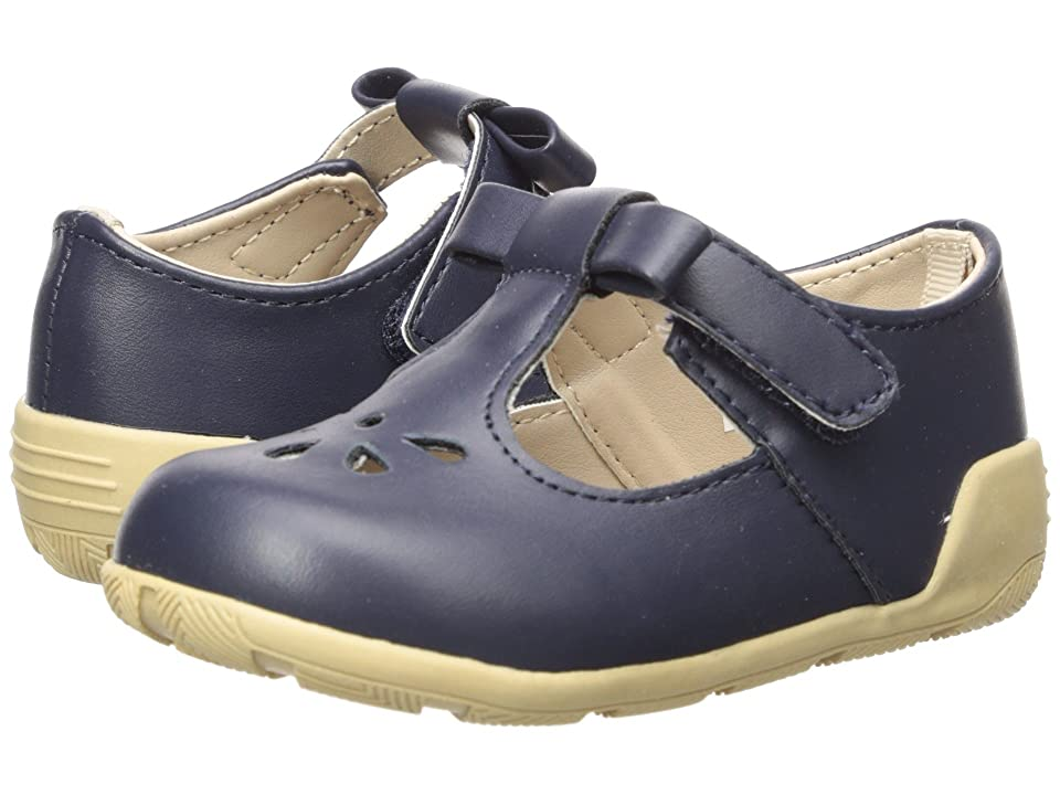 Baby Deer First Steps T-Strap with Cut Outs (Infant/Toddler) (Navy) Girl