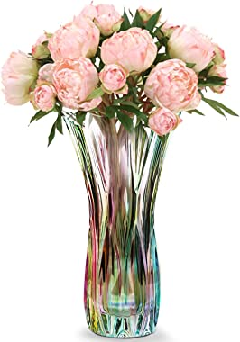 Magicpro Flower Vase Large Size11.8 inch Phoenix Tail Shape Thickened Crystal Glass for Home Decor, Wedding or Gift