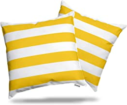 ALEXANDRA'S SECRET HOME COLLECTION Outdoor Decorative Throw Pillow Pack of 2 Stuffed Throw Pillows UV Resistant Water Proof Complete Pillow with Polyester Fill Insert (Stripe 18 x 18, Sunshine)