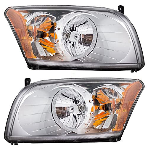 Driver and Passenger Headlights Headlamps Replacement for Dodge 5303739AJ 5303738AJ
