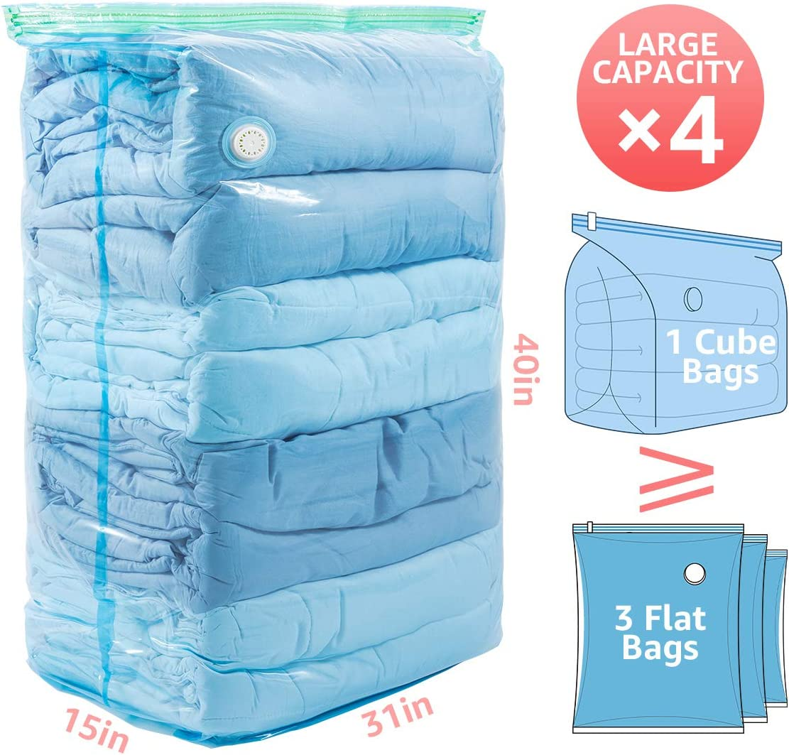 Towel Double Duvet CLEVHOM Vacuum Storage Bags 8 Pack Jumbo Size Clothes Blanket Pillows ect 80 X 100cm Space Saver Compression Bags Double-Zip Seal Reusable Storage Bag for Bedding