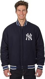 New York Yankees Jacket Wool Nylon Navy Blue Reversible Embroidered Logos
