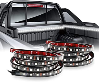 Auxbeam 2Pcs 60 Inch White Truck Bed Light Strip Lamp Led Lights Waterproof Lighting Kit with On-Off Switch Fuse 2-Way Splitter Cable for Jeep Pickup RV SUV