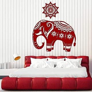 xinyouzhihi Patrón de Pegatinas de Pared de Elefante Indio en un Mandala Skin Wall Decs Home Interior Decor Extraíble Art Mural F 42x48cm