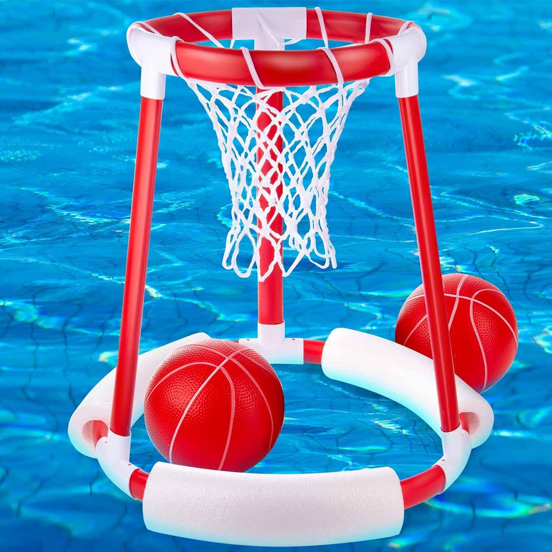 Aro de baloncesto flotante para piscinas; Juego de accesorios de baloncesto flotante para piscinas (2 balones de baloncesto)