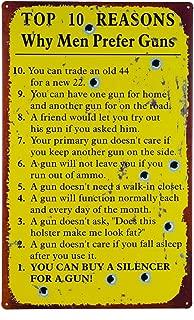 OHIO WHOLESALE, INC. Men Prefer Guns Sign 10 Reasons Metal Tin Rustic