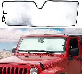 YANWEN Custom fit Front Windshield Sunshade Sun Shade Visor Mat for Jeep Wrangler JK 2007-2018