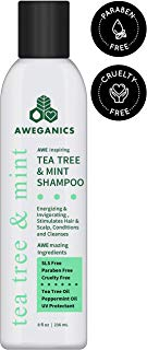 Aweganics Tea Tree Mint Shampoo - AWE Inspiring Natural Aromatherapy Invigorating Peppermint Shampoos - Cooling, Cleansing, Moisturizing - Alcohol-Free, Paraben-Free, Cruelty-Free, UV Protectant