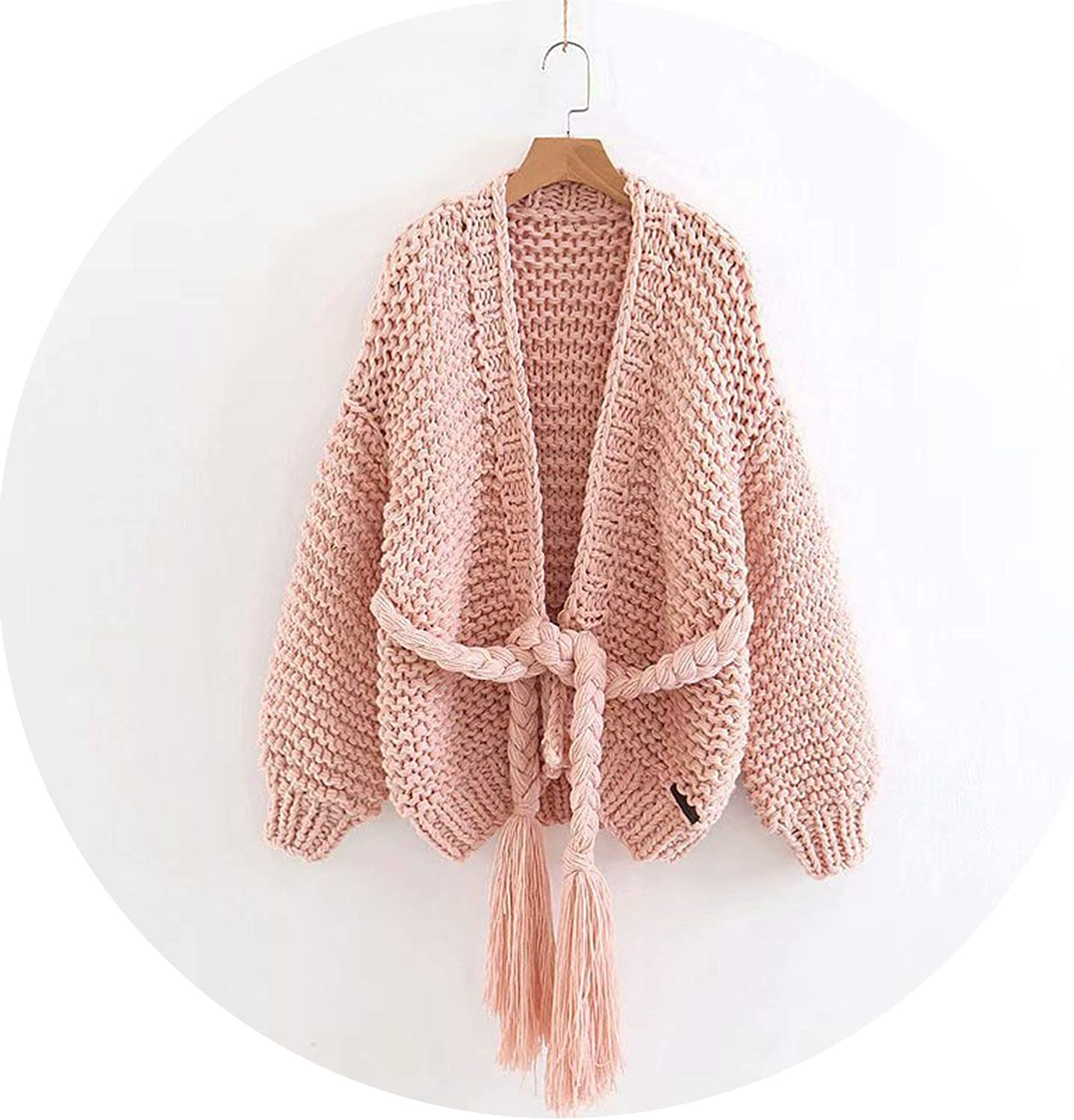 FantasticJourney Winter Thick Sweater Puff Sleeve Textured Knit Belted Hand Knitted Cardigan