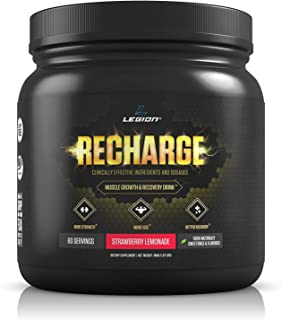 Legion Recharge Post Workout Supplement - All Natural Muscle Builder & Recovery Drink with Creatine Monohydrate. Naturally Sweetened & Flavored, Safe & Healthy. Strawberry Lemonade, 60 Servings.