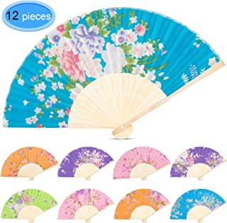 EAONE 12 Pcs Hand Folding Fan, Silk Floral Folding Fan, Vintage Handheld Fan, Chinese Style Fabric Folding Fan with Bamboo Rib for Wedding Dancing Party(Random Color)