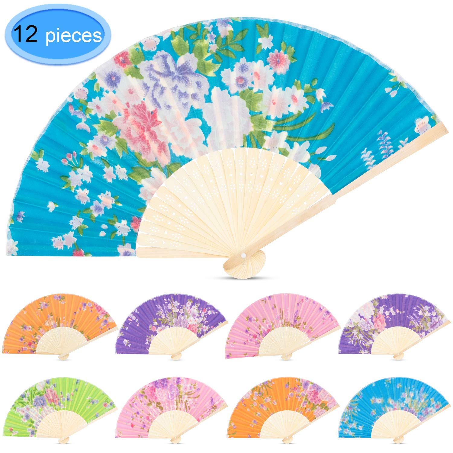 Wpxmer 12 Pack Multicolor Handheld Folded Fan Bamboo Folding Paper Hand Held Fans for Wedding Party and Home DIY Decoration