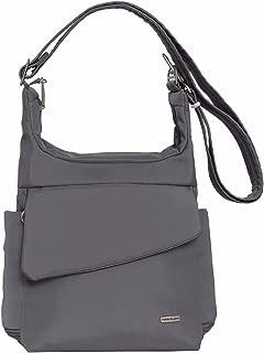 Travelon Anti-Theft Messenger Bag (Dark Grey w/Coral Lining)