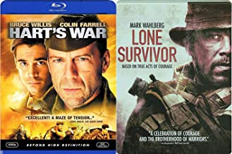 Tension & Battle Courage Mark Wahlberg Steelbook Lone Survivor Exclusive + Hart's War Bruce Willis Blu-ray 2-Movie Bundle Double Feature Military Films