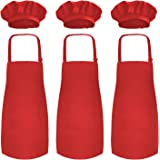 Novelty Place Kid's Apron with Chef Hat Set (3 Set) - Children's Bib with Pocket Skin-Friendly Fabrics - Cooking