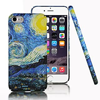 Clouds Compatible iPhone 7 Case,iPhone 8 Case [Famous Paiting Series] Smooth Premium Durable Hard PC Funny Cool 3D Flowing Oil Painting case-The Starry Night Van Gogh for iPhone 7/8