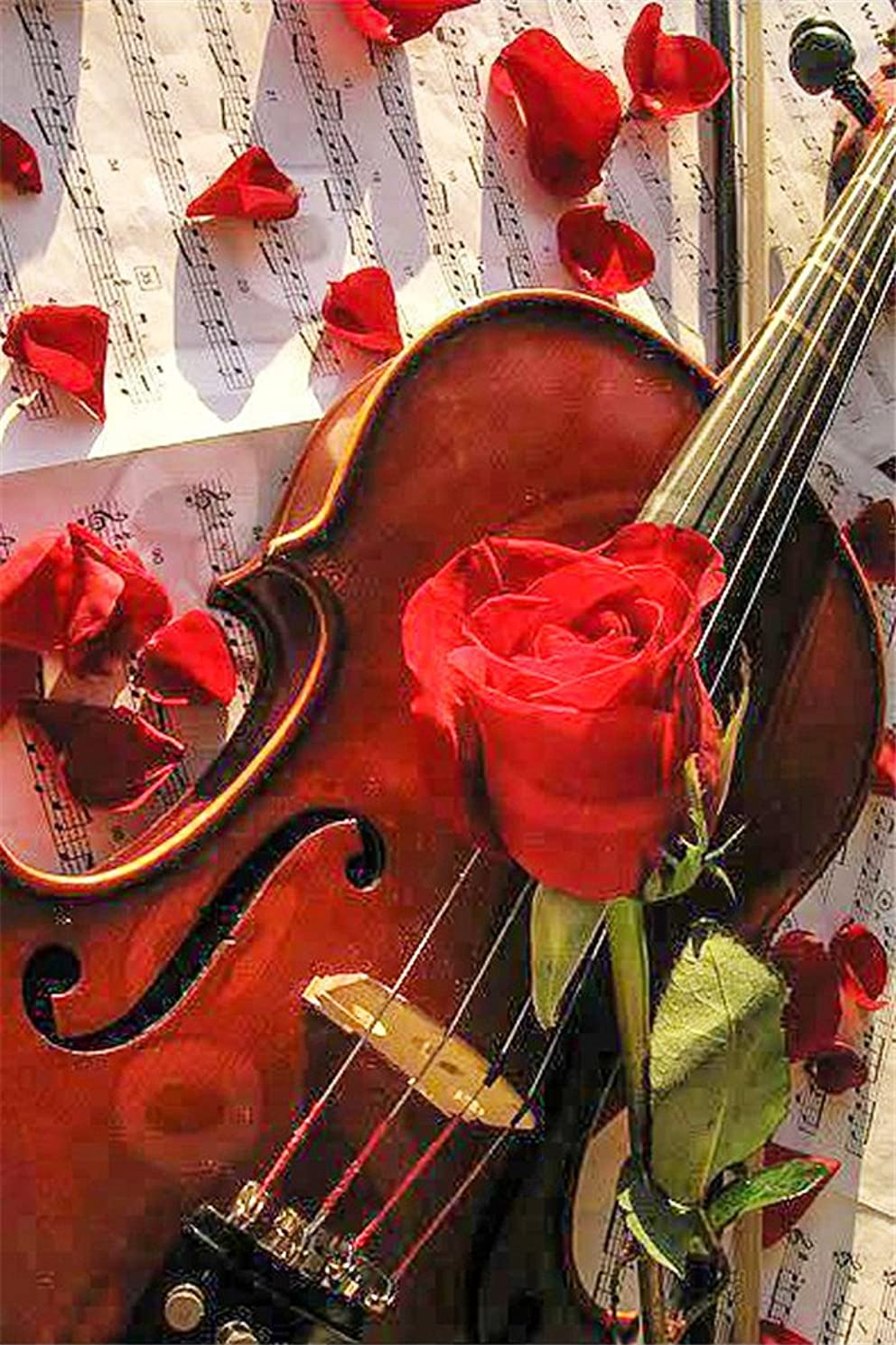 CaptainCrafts DIY 5D Diamond Painting by Number Kits Full Drill Diamond Painting - Rose Flower Violin (20X30cm/8X12inch)
