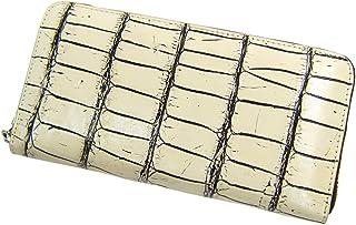 [マトゥーリ]Maturi 最高級 ナイルクロコ革 長財布 ラウンドファスナー MR-048-1 バニラ/茶