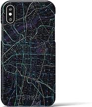 【大阪】地図柄iPhoneケース(バックカバータイプ・ブラック)iPhone XS/X 用 <全国300以上の品揃え> シンプル おしゃれ 大人 個性的 耐衝撃素材のiPhoneカバー(アイフォンケース アイフォンカバー スマホケース スマホカバー)