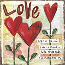Dicksons Love is Patient Kind Never Ends 7 x 7 Inch Wood Decorative Hanging Wall Plaque