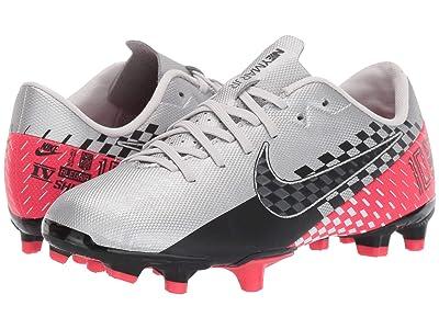 Nike Kids Jr Vapor 13 Academy NJR FG/MG Soccer (Toddler/Little Kid/Big Kid) (Chrome/Black/Red Orbit/Platinum Tint) Kids Shoes