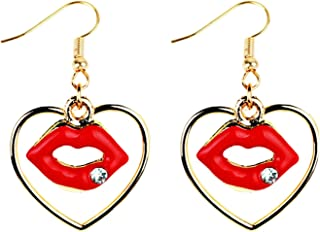 Women Earings Elegant Red Lip Dangle Earrings Sweet Gold Color Heart Earing Jewelry Big Earrings Women