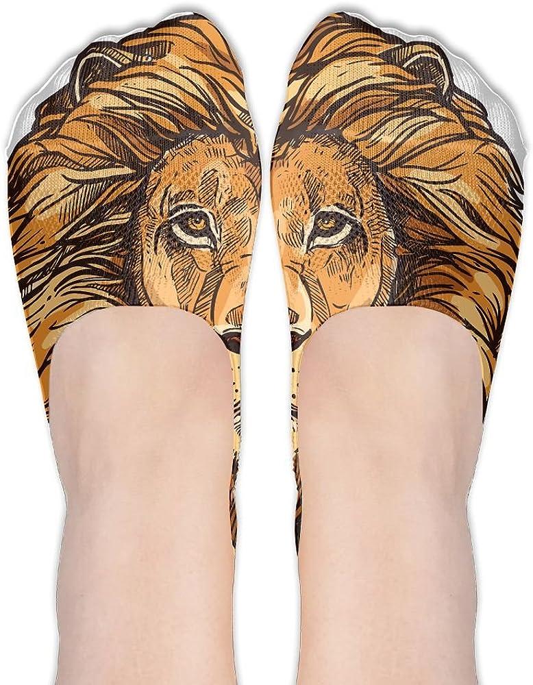 African Mammals Lion Female Polyester Cotton Socks Women Boat Socks Low Cut Socks Thin Casual Socks